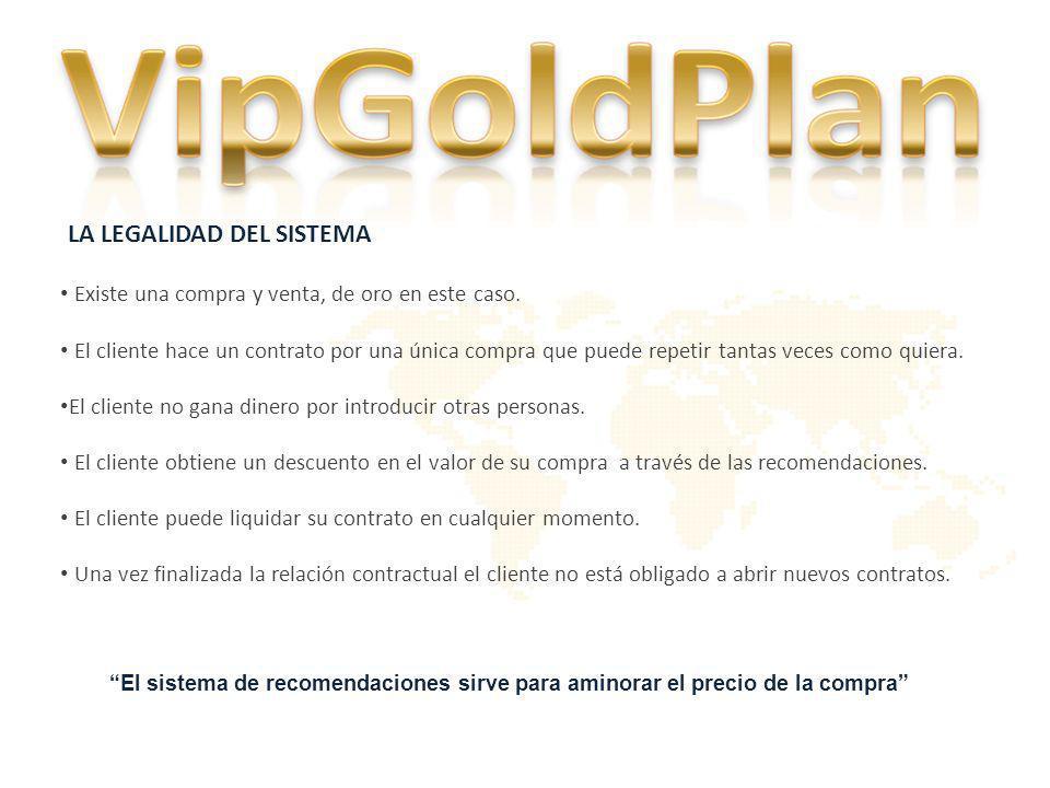 CONTRATO DE COMPRA DE ORO DE INVERSIÓN PARTICIPANDO EN EL PLAN DE ACUMULACIÓN DE ORO VIPGOLDPLAN Se establece con todos los clientes por cada compra de oro.