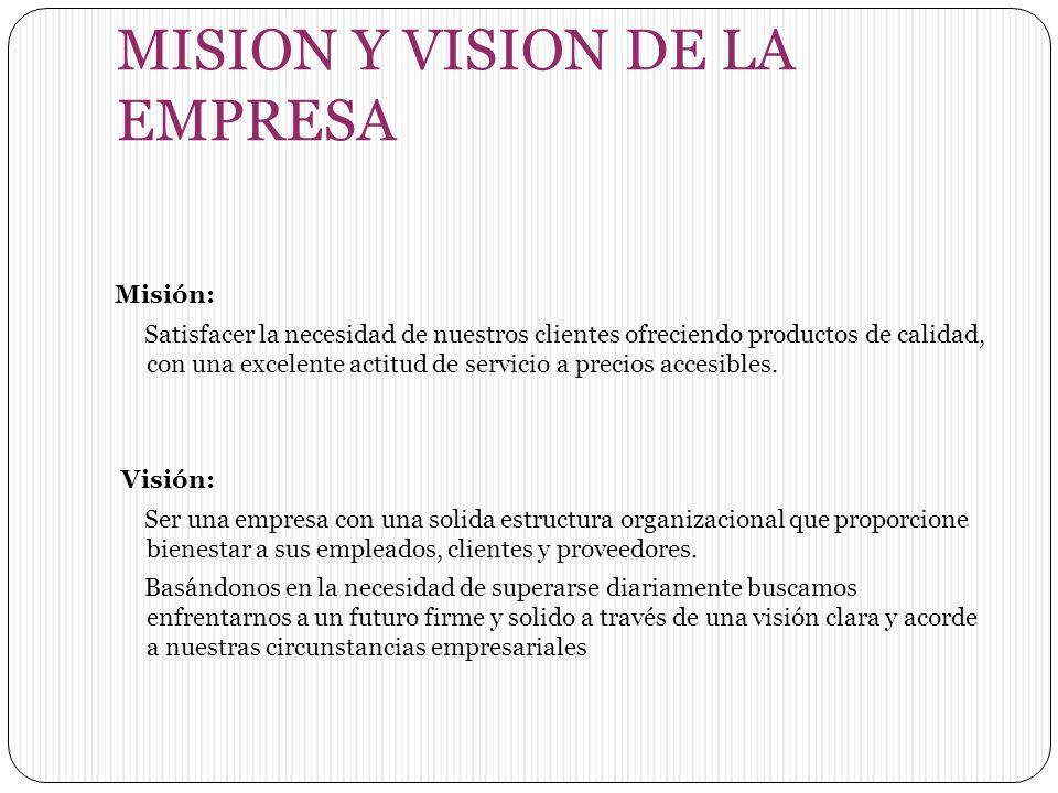 Misión: Satisfacer la necesidad de nuestros clientes ofreciendo productos de calidad, con una excelente actitud de servicio a precios accesibles.