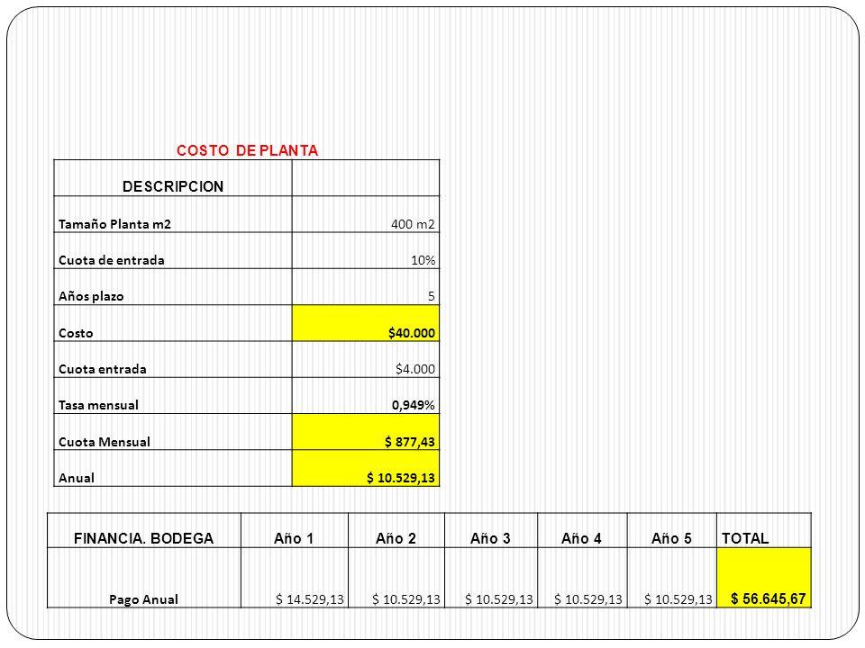 COSTO DE PLANTA DESCRIPCION Tamaño Planta m2400 m2 Cuota de entrada10% Años plazo5 Costo$40.000 Cuota entrada$4.000 Tasa mensual0,949% Cuota Mensual$ 877,43 Anual$ 10.529,13 FINANCIA.