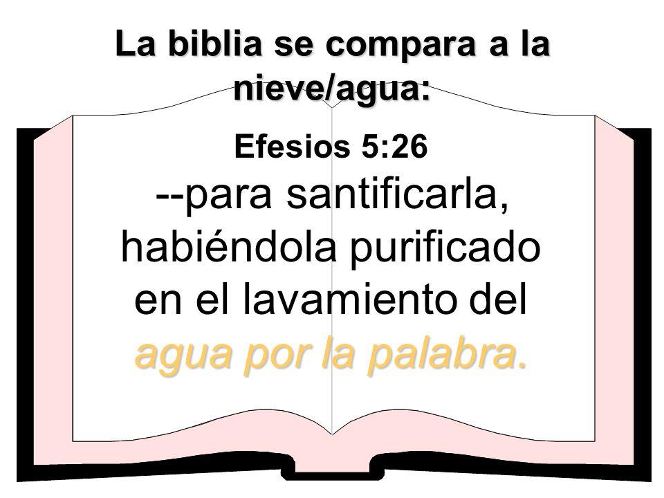 agua por la palabra. Efesios 5:26 --para santificarla, habiéndola purificado en el lavamiento del agua por la palabra. La biblia se compara a la nieve