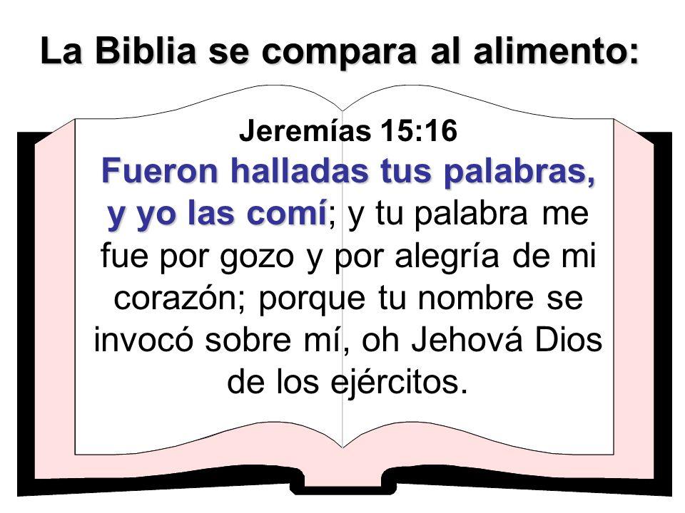Fueron halladas tus palabras, y yo las comí Jeremías 15:16 Fueron halladas tus palabras, y yo las comí; y tu palabra me fue por gozo y por alegría de