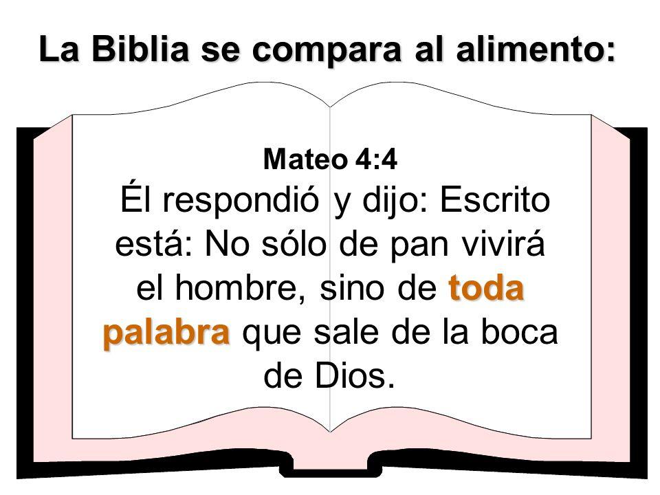 toda palabra Mateo 4:4 Él respondió y dijo: Escrito está: No sólo de pan vivirá el hombre, sino de toda palabra que sale de la boca de Dios. La Biblia