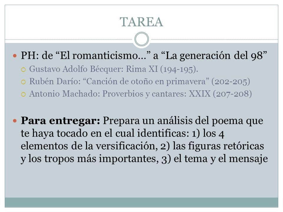 TAREA PH: de El romanticismo… a La generación del 98 Gustavo Adolfo Bécquer: Rima XI (194-195).