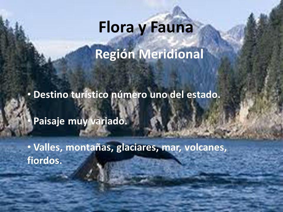 Flora y Fauna Región Meridional Destino turístico número uno del estado. Paisaje muy variado. Valles, montañas, glaciares, mar, volcanes, fiordos.
