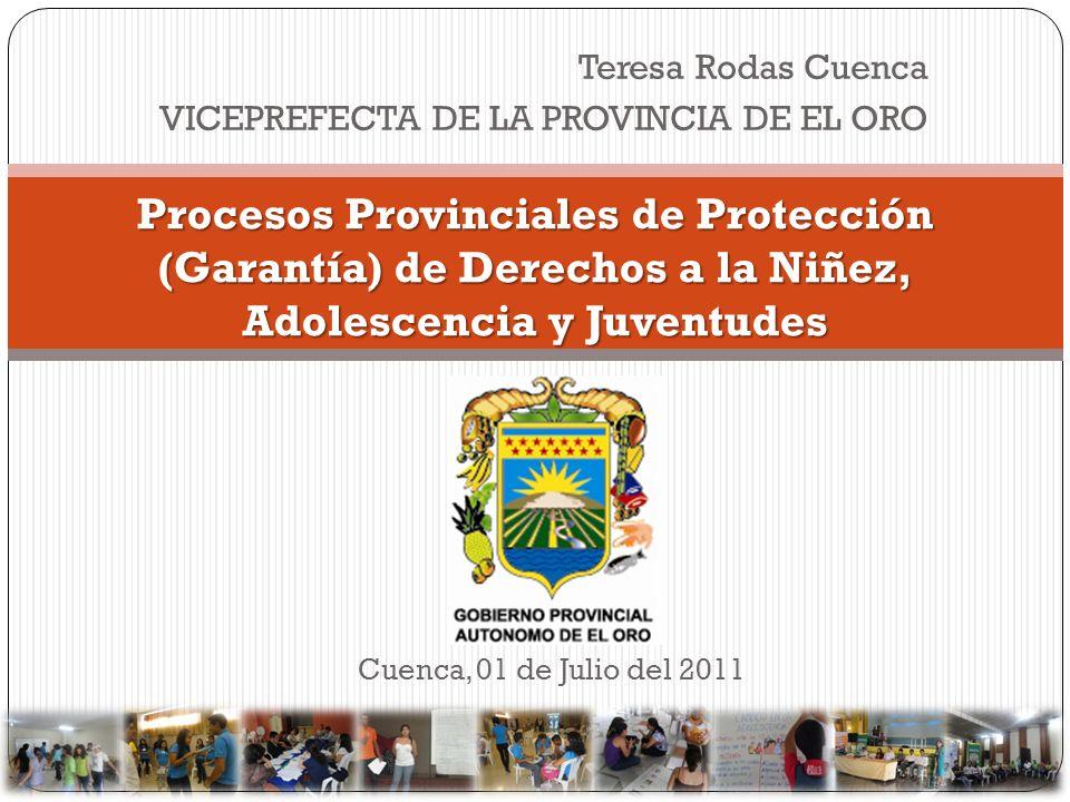 Teresa Rodas Cuenca VICEPREFECTA DE LA PROVINCIA DE EL ORO Procesos Provinciales de Protección (Garantía) de Derechos a la Niñez, Adolescencia y Juven