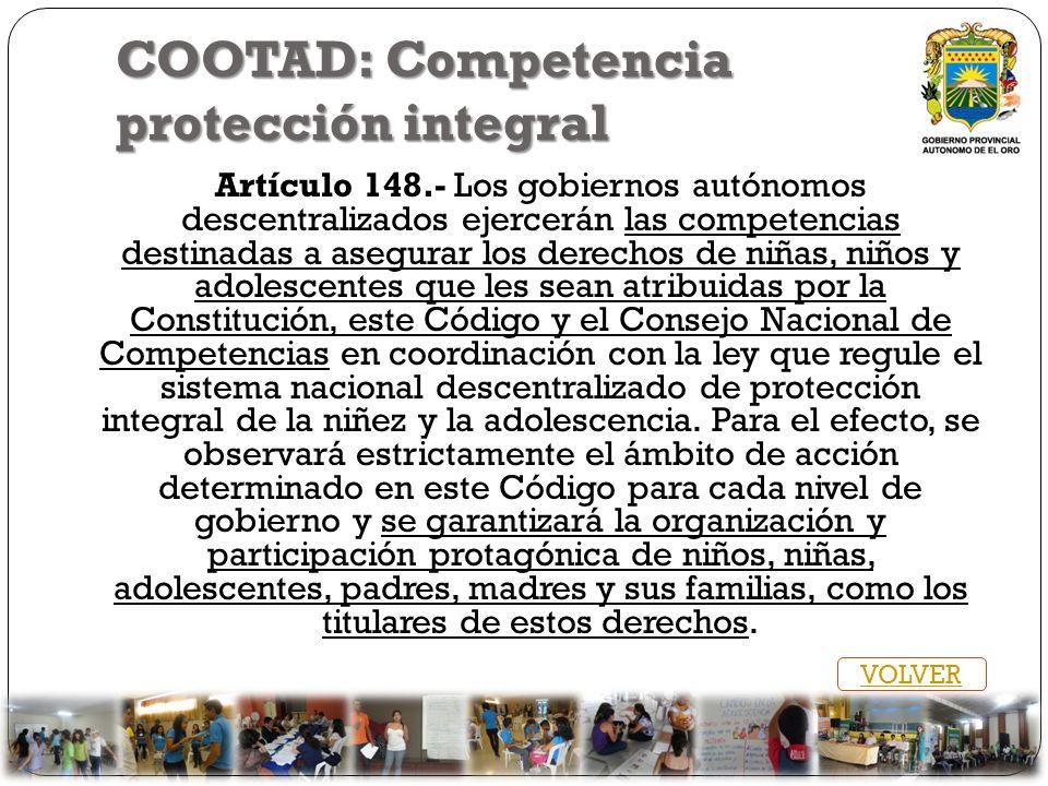 COOTAD: Competencia protección integral Artículo 148.- Los gobiernos autónomos descentralizados ejercerán las competencias destinadas a asegurar los d