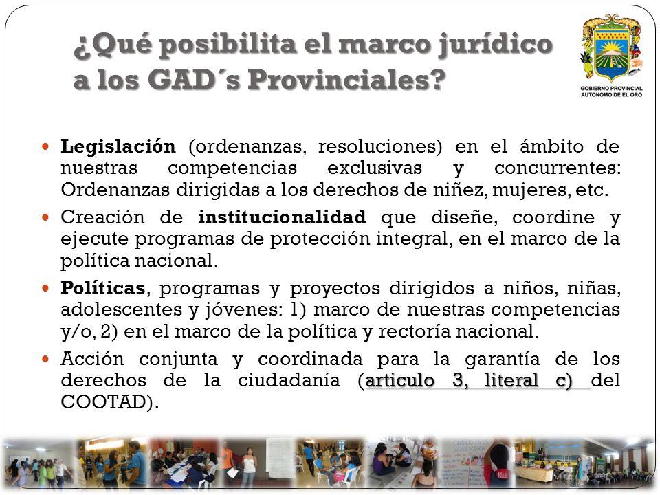 ¿ Qué posibilita el marco jurídico a los GAD´s Provinciales? Legislación (ordenanzas, resoluciones) en el ámbito de nuestras competencias exclusivas y