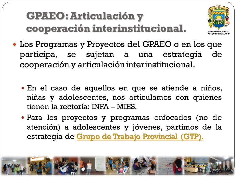 GPAEO: Articulación y cooperación interinstitucional. Los Programas y Proyectos del GPAEO o en los que participa, se sujetan a una estrategia de coope