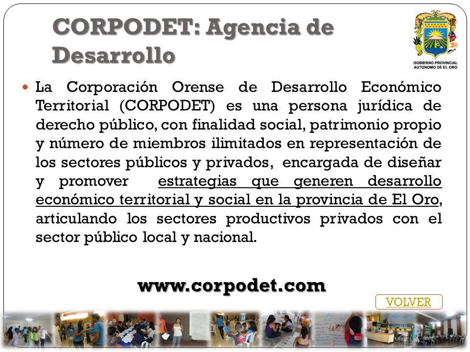 CORPODET: Agencia de Desarrollo La Corporación Orense de Desarrollo Económico Territorial (CORPODET) es una persona jurídica de derecho público, con f