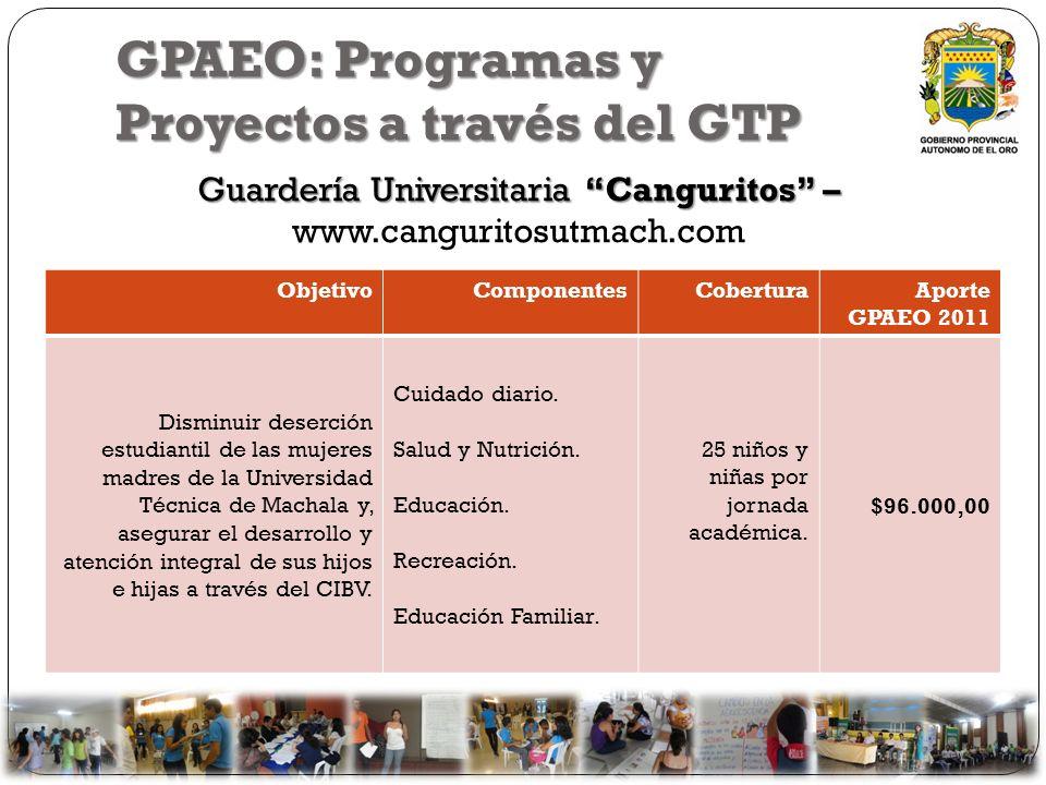 GPAEO: Programas y Proyectos a través del GTP Guardería Universitaria Canguritos – Guardería Universitaria Canguritos – www.canguritosutmach.com Objet
