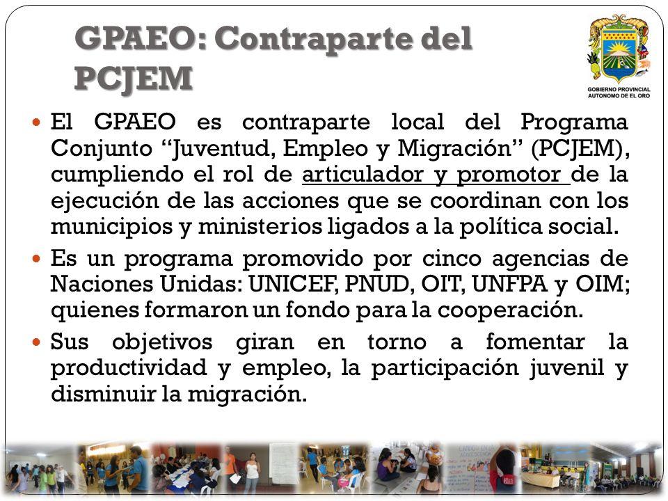 GPAEO: Contraparte del PCJEM El GPAEO es contraparte local del Programa Conjunto Juventud, Empleo y Migración (PCJEM), cumpliendo el rol de articulado