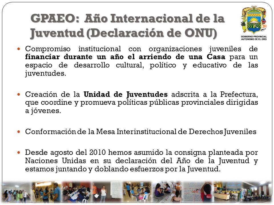 GPAEO: Año Internacional de la Juventud (Declaración de ONU) Compromiso institucional con organizaciones juveniles de financiar durante un año el arri