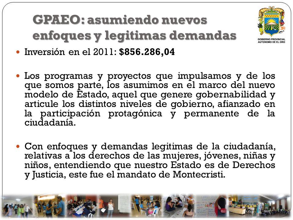 GPAEO: asumiendo nuevos enfoques y legitimas demandas Inversión en el 2011: $856.286,04 Los programas y proyectos que impulsamos y de los que somos pa
