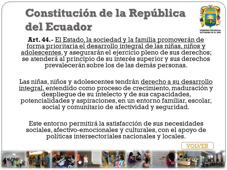 Constitución de la República del Ecuador Art. 44.- El Estado, la sociedad y la familia promoverán de forma prioritaria el desarrollo integral de las n