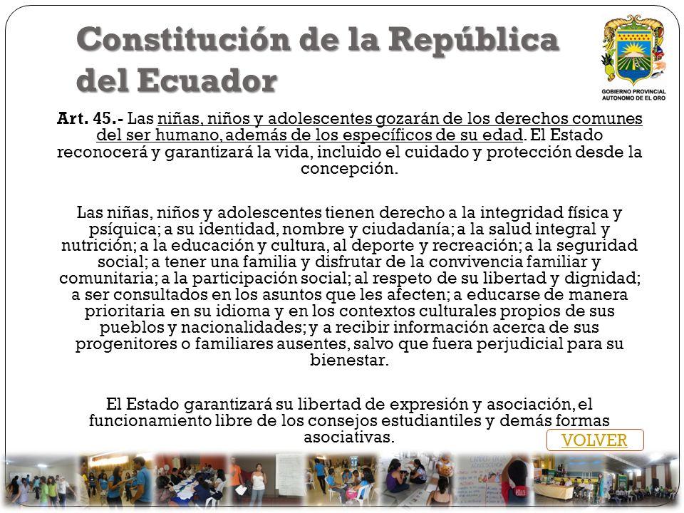 Constitución de la República del Ecuador Art. 45.- Las niñas, niños y adolescentes gozarán de los derechos comunes del ser humano, además de los espec