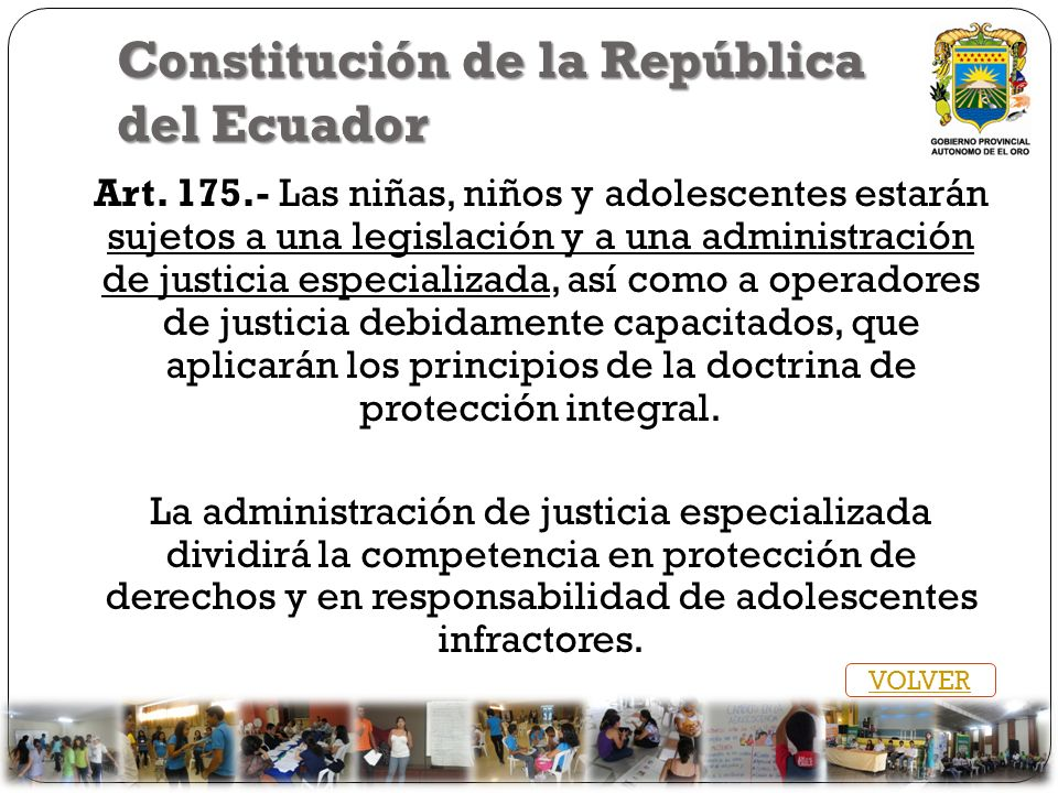 Constitución de la República del Ecuador Art. 175.- Las niñas, niños y adolescentes estarán sujetos a una legislación y a una administración de justic