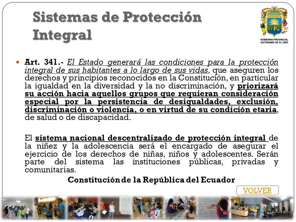 Sistemas de Protección Integral Art. 341.- El Estado generará las condiciones para la protección integral de sus habitantes a lo largo de sus vidas, q