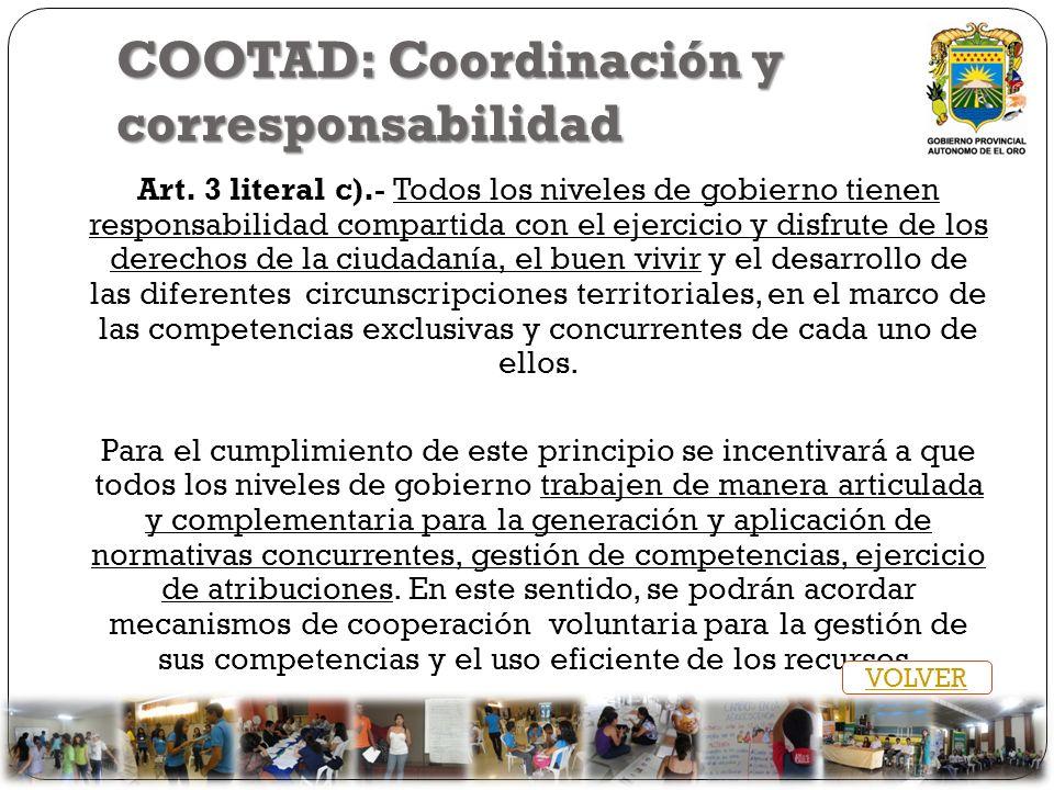 COOTAD: Coordinación y corresponsabilidad Art. 3 literal c).- Todos los niveles de gobierno tienen responsabilidad compartida con el ejercicio y disfr