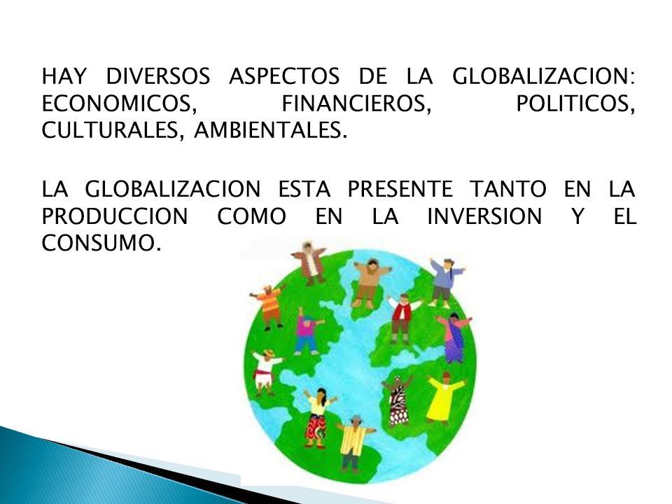 HAY DIVERSOS ASPECTOS DE LA GLOBALIZACION: ECONOMICOS, FINANCIEROS, POLITICOS, CULTURALES, AMBIENTALES. LA GLOBALIZACION ESTA PRESENTE TANTO EN LA PRO