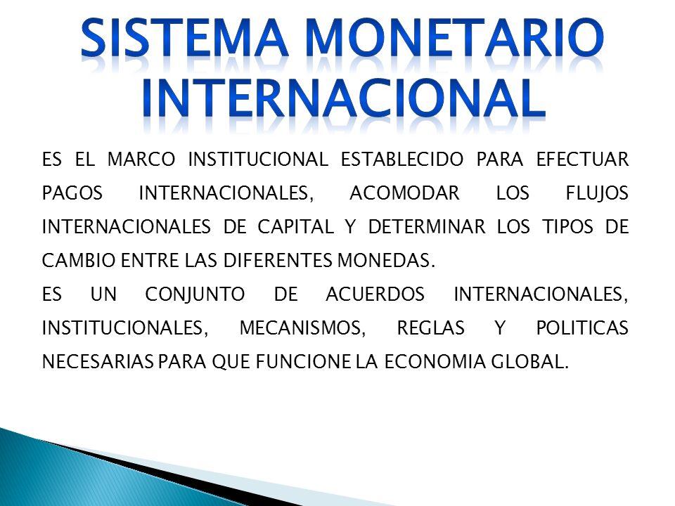 ES EL MARCO INSTITUCIONAL ESTABLECIDO PARA EFECTUAR PAGOS INTERNACIONALES, ACOMODAR LOS FLUJOS INTERNACIONALES DE CAPITAL Y DETERMINAR LOS TIPOS DE CA