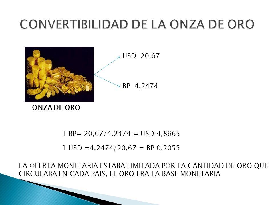 USD 20,67 BP 4,2474 ONZA DE ORO 1 BP= 20,67/4,2474 = USD 4,8665 1 USD =4,2474/20,67 = BP 0,2055 LA OFERTA MONETARIA ESTABA LIMITADA POR LA CANTIDAD DE
