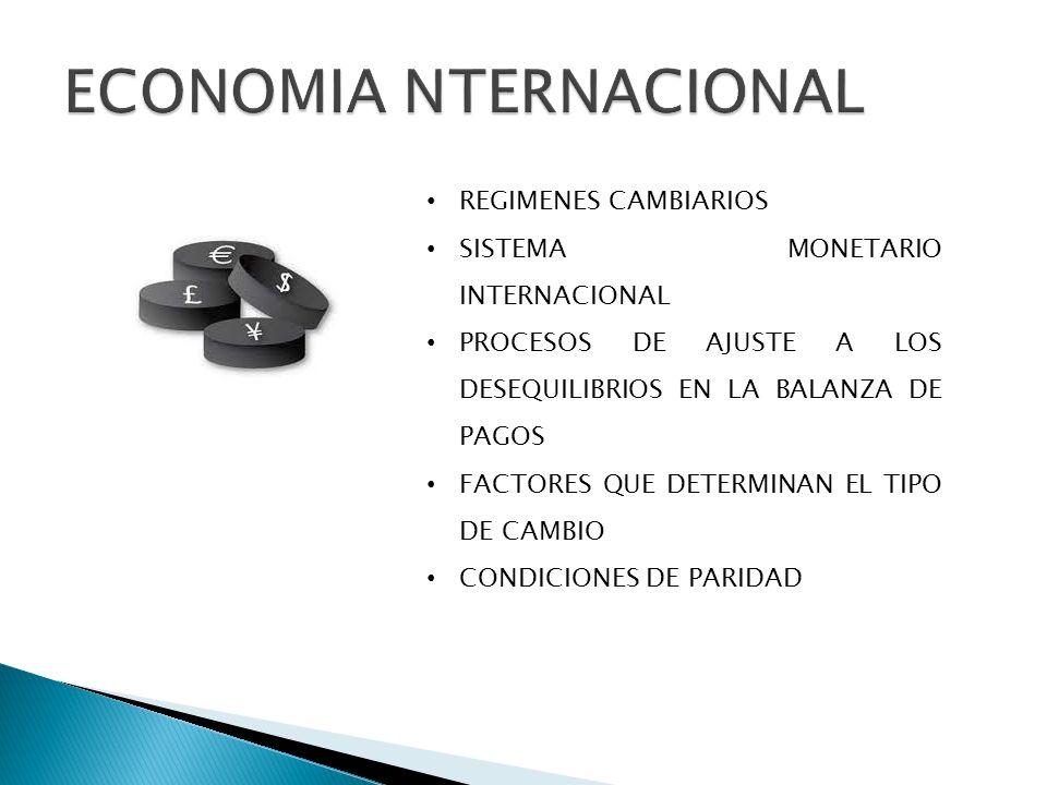 REGIMENES CAMBIARIOS SISTEMA MONETARIO INTERNACIONAL PROCESOS DE AJUSTE A LOS DESEQUILIBRIOS EN LA BALANZA DE PAGOS FACTORES QUE DETERMINAN EL TIPO DE