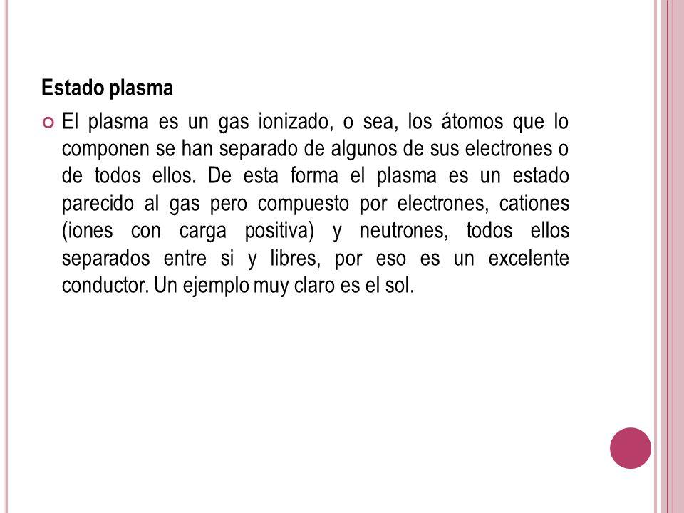 Estado plasma El plasma es un gas ionizado, o sea, los átomos que lo componen se han separado de algunos de sus electrones o de todos ellos. De esta f