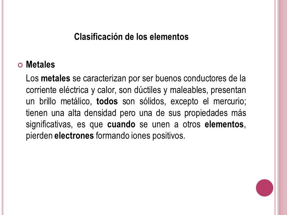 Clasificación de los elementos Metales Los metales se caracterizan por ser buenos conductores de la corriente eléctrica y calor, son dúctiles y maleab