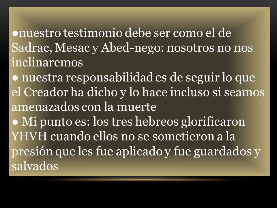 nuestro testimonio debe ser como el de Sadrac, Mesac y Abed-nego: nosotros no nos inclinaremos nuestra responsabilidad es de seguir lo que el Creador