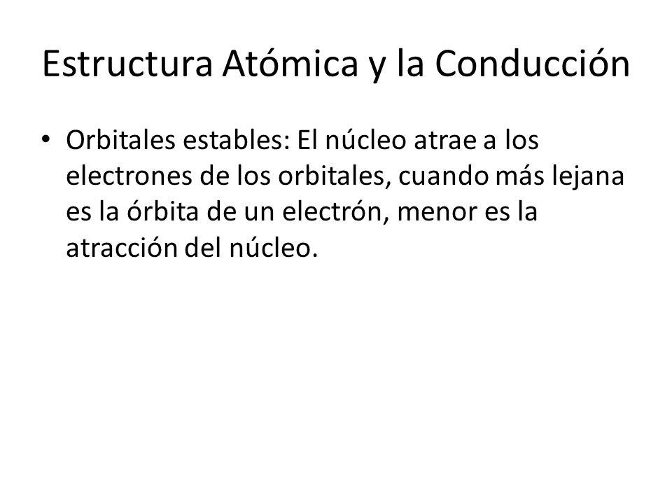 Estructura Atómica y la Conducción Orbitales estables: El núcleo atrae a los electrones de los orbitales, cuando más lejana es la órbita de un electró