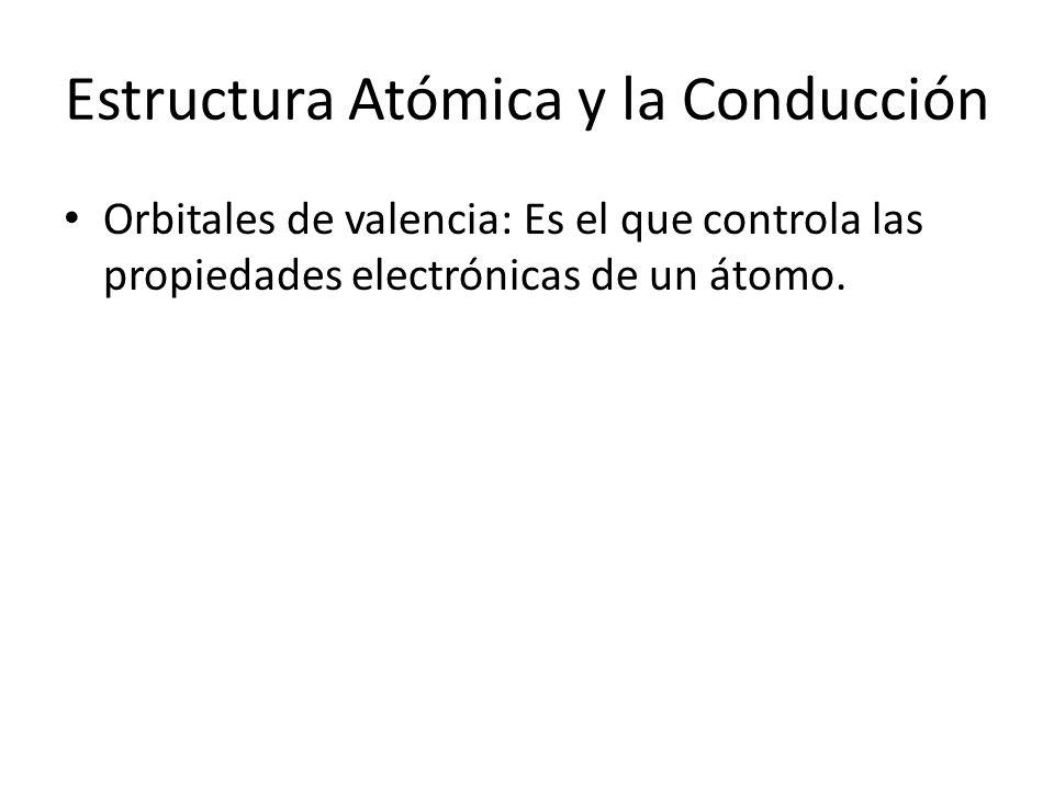 Estructura Atómica y la Conducción Orbitales de valencia: Es el que controla las propiedades electrónicas de un átomo.
