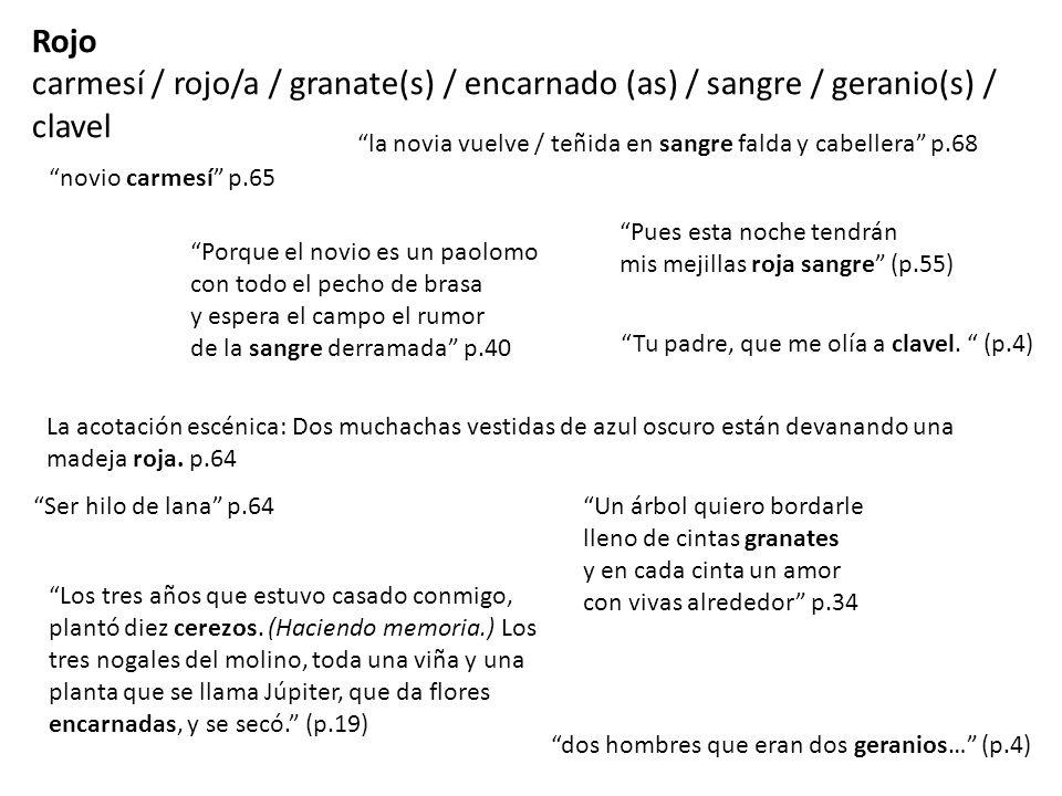 Rojo carmesí / rojo/a / granate(s) / encarnado (as) / sangre / geranio(s) / clavel novio carmesí p.65 la novia vuelve / teñida en sangre falda y cabel