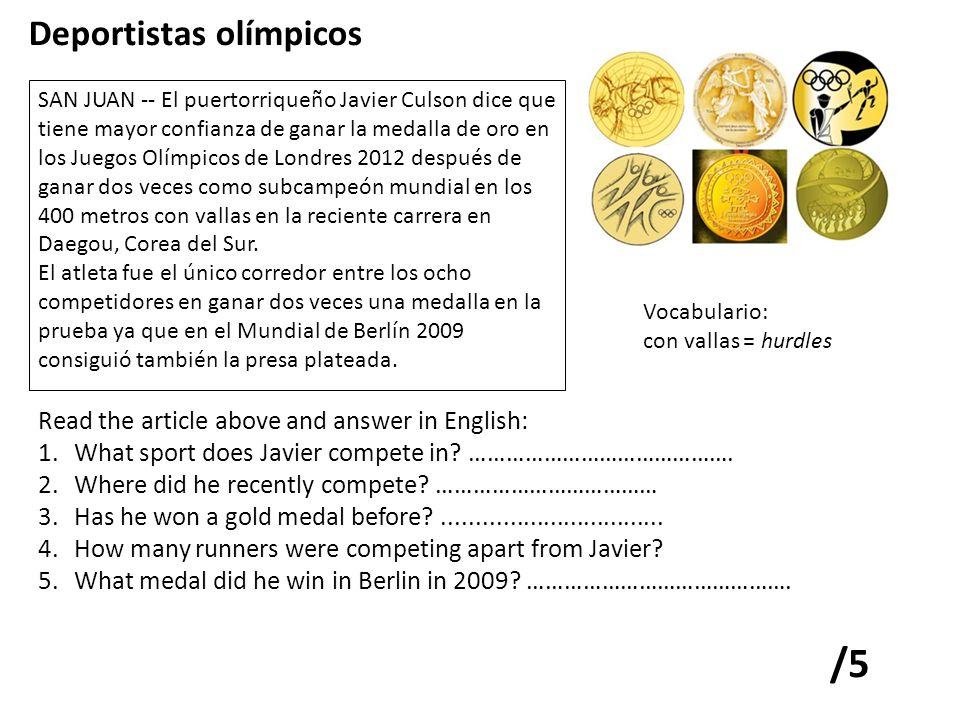 SAN JUAN -- El puertorriqueño Javier Culson dice que tiene mayor confianza de ganar la medalla de oro en los Juegos Olímpicos de Londres 2012 después de ganar dos veces como subcampeón mundial en los 400 metros con vallas en la reciente carrera en Daegou, Corea del Sur.
