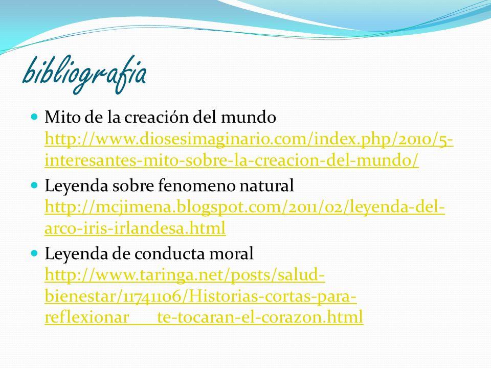bibliografia Mito de la creación del mundo http://www.diosesimaginario.com/index.php/2010/5- interesantes-mito-sobre-la-creacion-del-mundo/ http://www