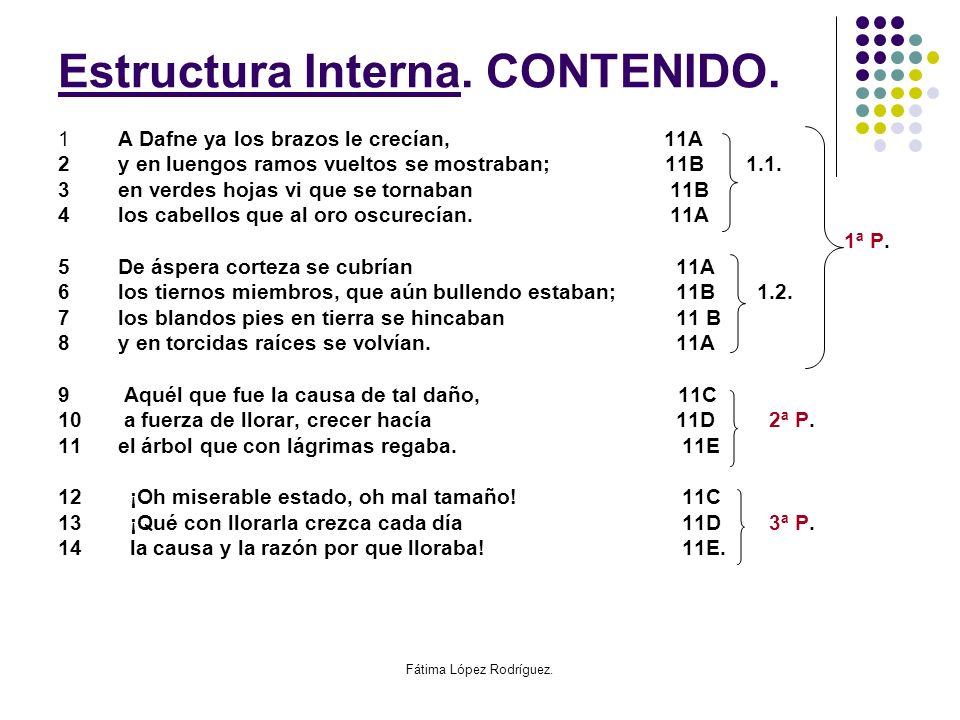 Fátima López Rodríguez. Estrustura Estructura Interna. CONTENIDO. 1 A Dafne ya los brazos le crecían, 11A 2 y en luengos ramos vueltos se mostraban; 1