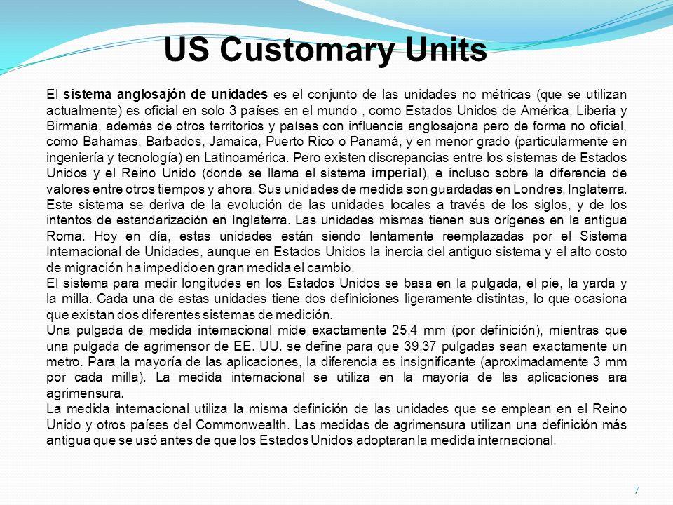 US Customary Units El sistema anglosajón de unidades es el conjunto de las unidades no métricas (que se utilizan actualmente) es oficial en solo 3 paí