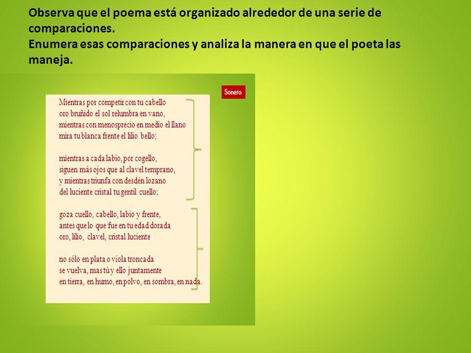 Observa que el poema está organizado alrededor de una serie de comparaciones. Enumera esas comparaciones y analiza la manera en que el poeta las manej