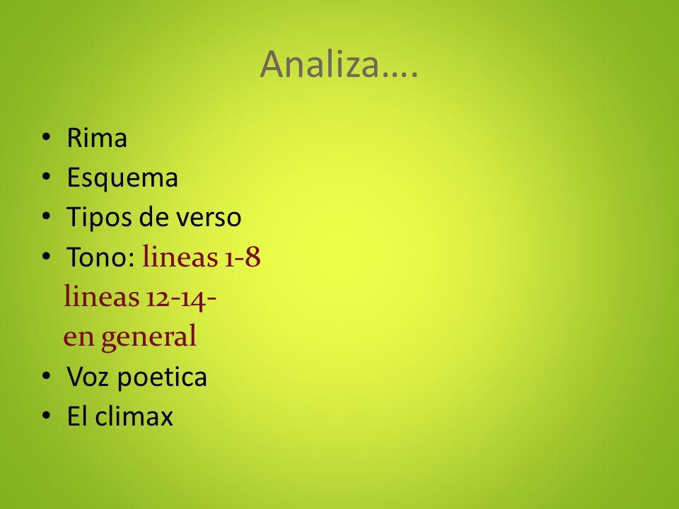 Analiza…. Rima Esquema Tipos de verso Tono: lineas 1-8 lineas 12-14- en general Voz poetica El climax