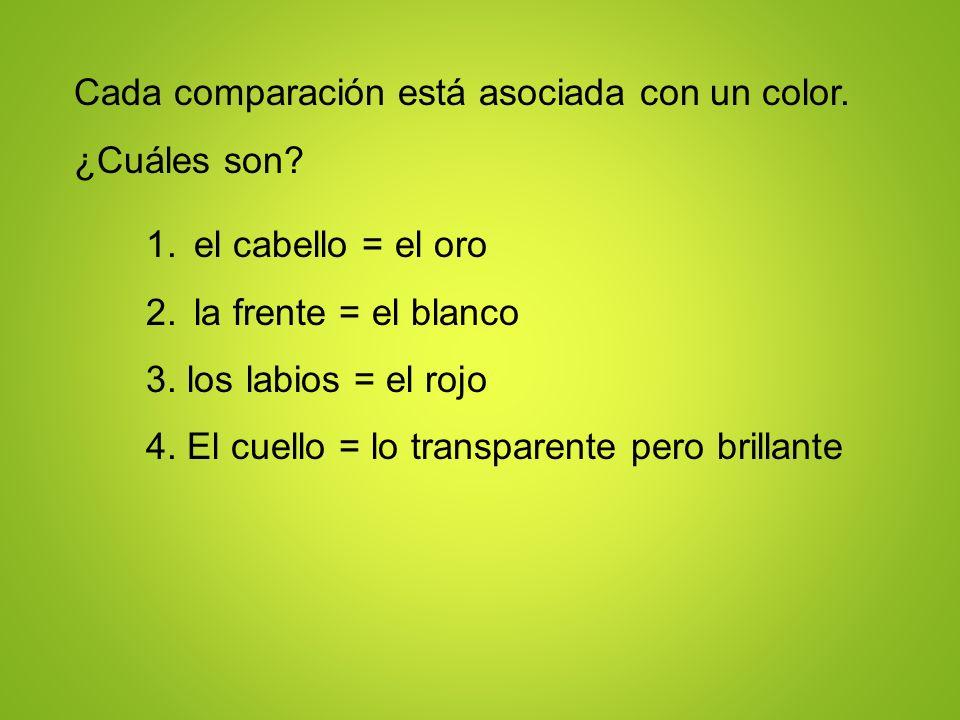 Cada comparación está asociada con un color. ¿Cuáles son? 1.el cabello = el oro 2.la frente = el blanco 3. los labios = el rojo 4. El cuello = lo tran