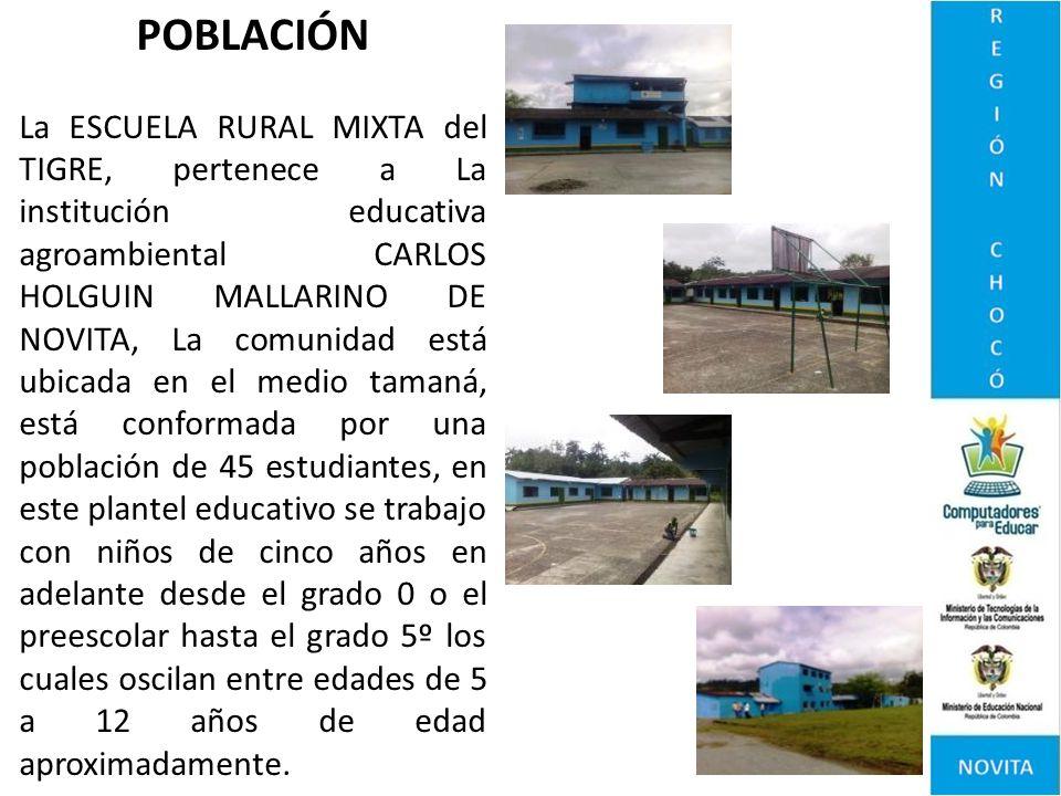 POBLACIÓN La ESCUELA RURAL MIXTA del TIGRE, pertenece a La institución educativa agroambiental CARLOS HOLGUIN MALLARINO DE NOVITA, La comunidad está u