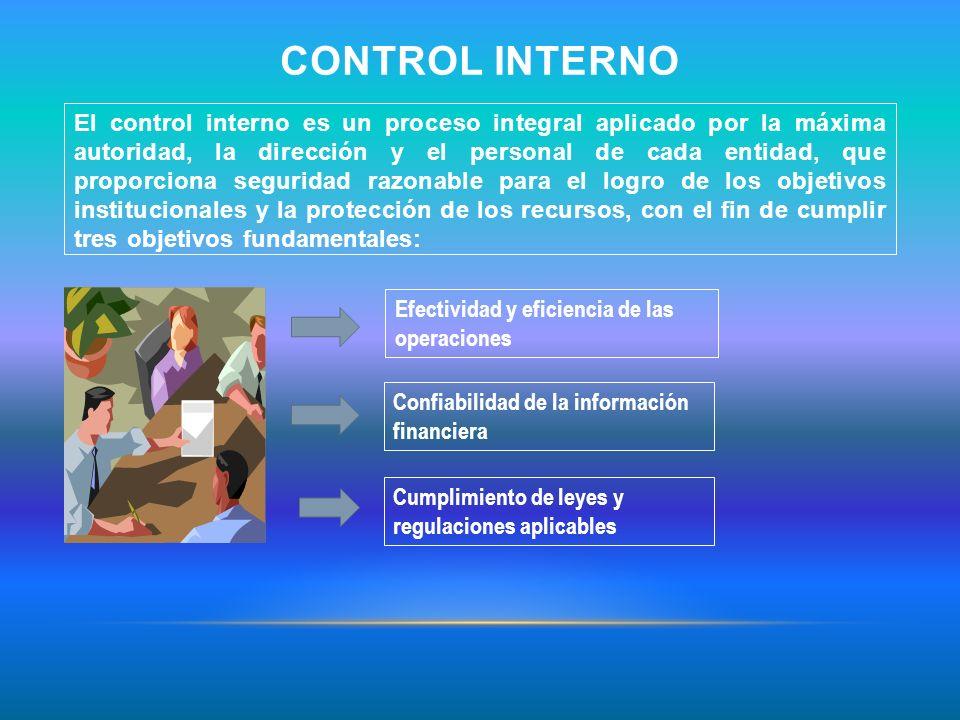 CONTROL INTERNO El control interno es un proceso integral aplicado por la máxima autoridad, la dirección y el personal de cada entidad, que proporcion