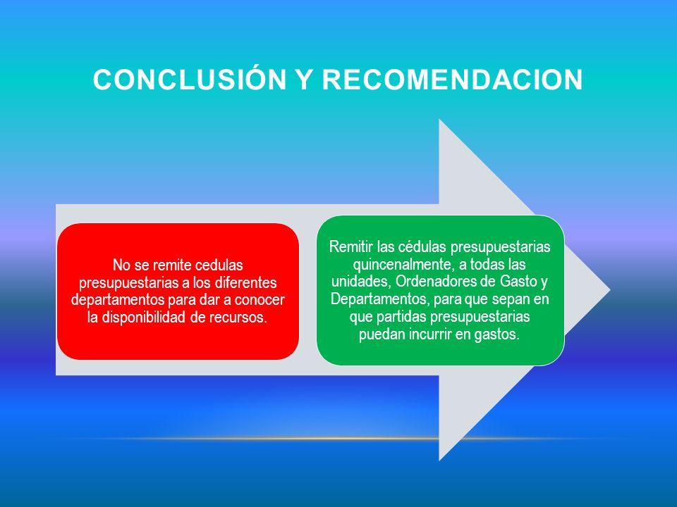 CONCLUSIÓN Y RECOMENDACION No se remite cedulas presupuestarias a los diferentes departamentos para dar a conocer la disponibilidad de recursos. Remit