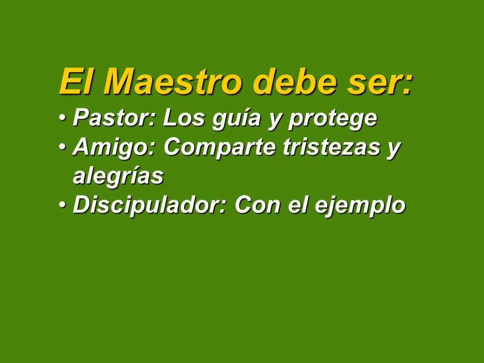 El Maestro debe ser: Pastor: Los guía y protegePastor: Los guía y protege Amigo: Comparte tristezas y alegríasAmigo: Comparte tristezas y alegrías Dis