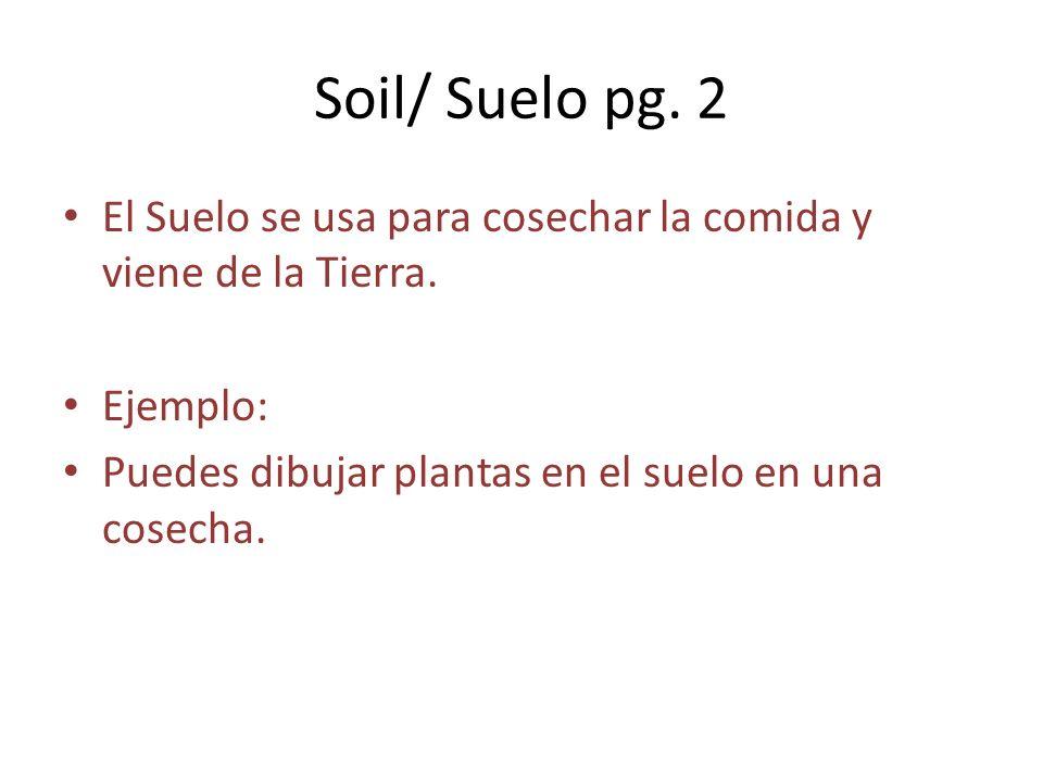 Soil/ Suelo pg. 2 El Suelo se usa para cosechar la comida y viene de la Tierra. Ejemplo: Puedes dibujar plantas en el suelo en una cosecha.