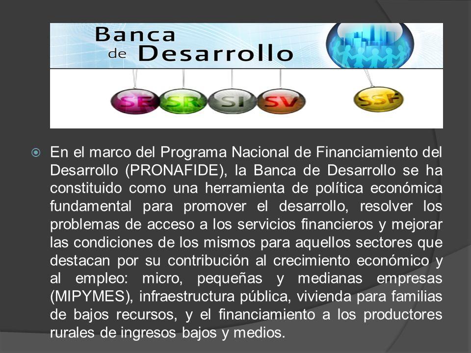 En el marco del Programa Nacional de Financiamiento del Desarrollo (PRONAFIDE), la Banca de Desarrollo se ha constituido como una herramienta de polít
