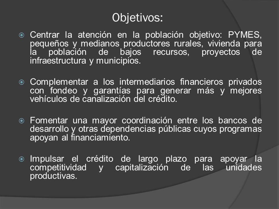 Objetivos: Centrar la atención en la población objetivo: PYMES, pequeños y medianos productores rurales, vivienda para la población de bajos recursos,