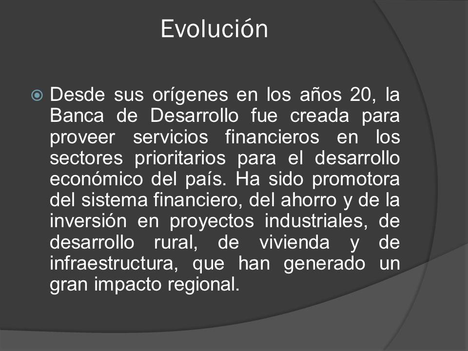Evolución Desde sus orígenes en los años 20, la Banca de Desarrollo fue creada para proveer servicios financieros en los sectores prioritarios para el