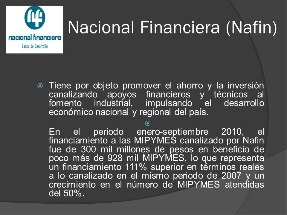 Nacional Financiera (Nafin) Tiene por objeto promover el ahorro y la inversión canalizando apoyos financieros y técnicos al fomento industrial, impulsando el desarrollo económico nacional y regional del país.