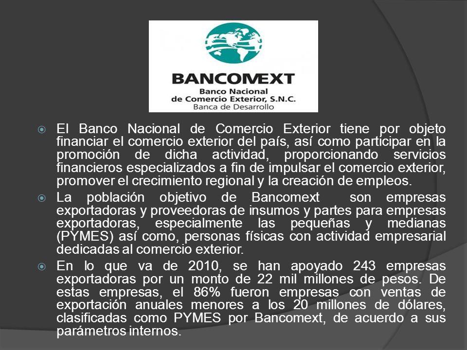 El Banco Nacional de Comercio Exterior tiene por objeto financiar el comercio exterior del país, así como participar en la promoción de dicha activida