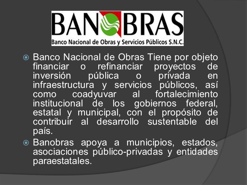 Banco Nacional de Obras Tiene por objeto financiar o refinanciar proyectos de inversión pública o privada en infraestructura y servicios públicos, así